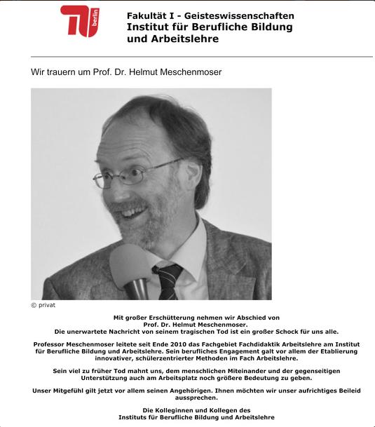 Prof. Dr. Helmut Meschenmoser Nachruf